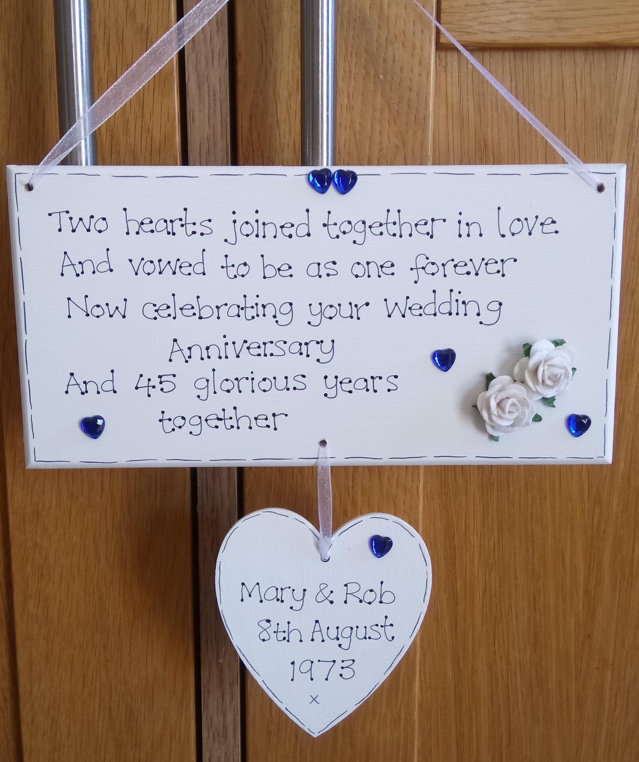 Personalised 45th 65th Wedding Anniversary, Sapphire