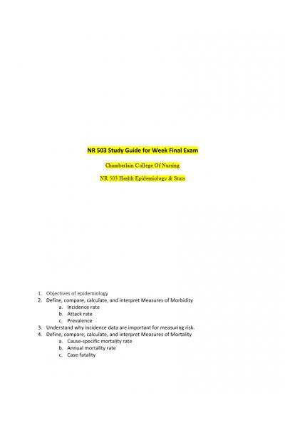 NR 503 Week 8 Final Exam StudyGuide: Feb /March 2018 | NR