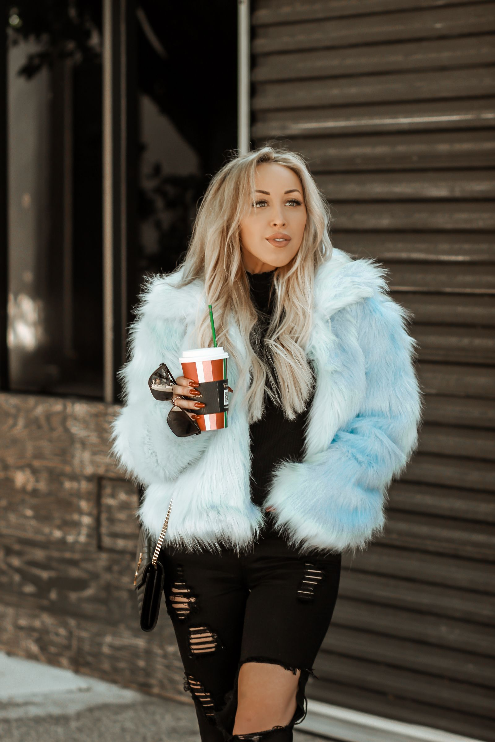 Baby Blue Faux Fur Blondie In The City Blue Faux Fur Coat Blue Fur Blue Fur Coat