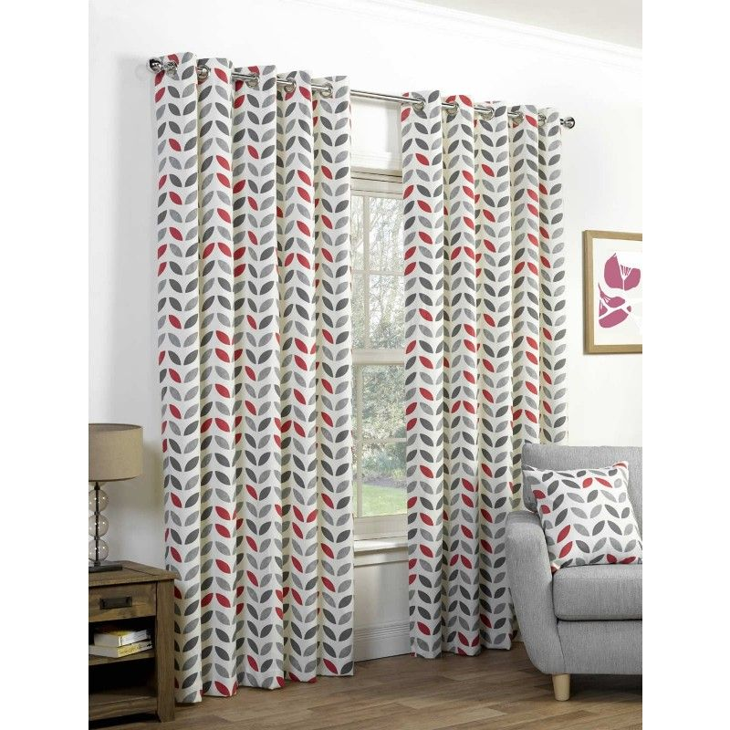 Neo Lined Eyelet Curtains Grey Red 46 X 54 Idealtextilesco