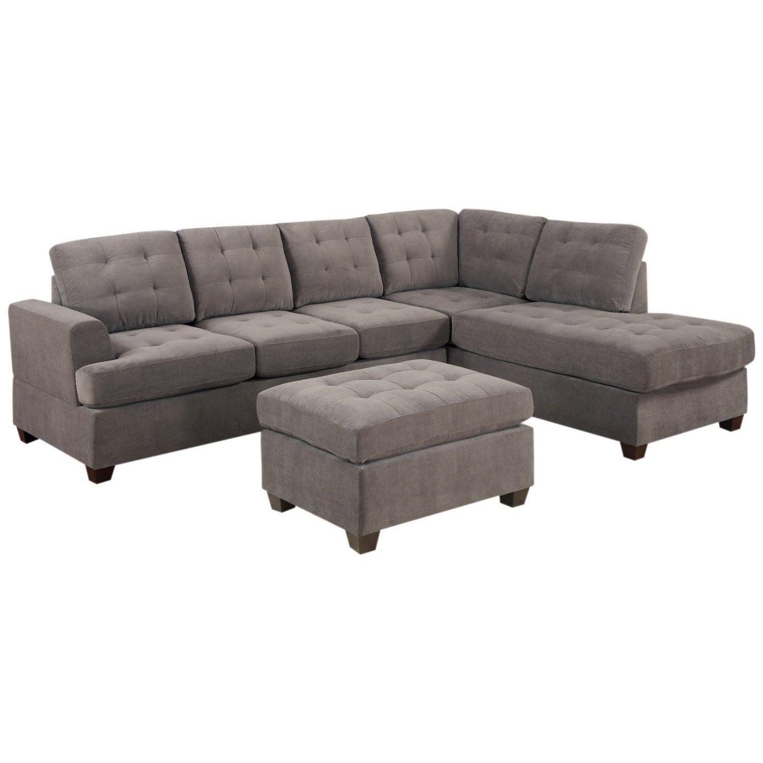 3 piece Modern Grey Microfiber Reversible Sectional Sofa with