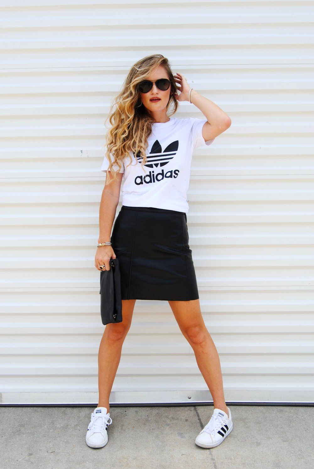 A New Way To Wear An Old Shoe Morrell S Armoire Adidas Outfit Women Dresses With Tennis Shoes Tennis Dress Outfit [ 1494 x 1000 Pixel ]
