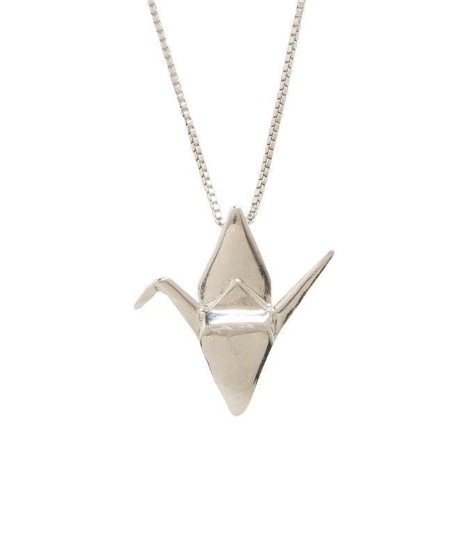 Sadako crane open wings pendant sterling silver small sadako sadako crane origami crane pendant with box chain in sterling silverndant length pendant width chain made and designed in hawaii comes with a mozeypictures Choice Image