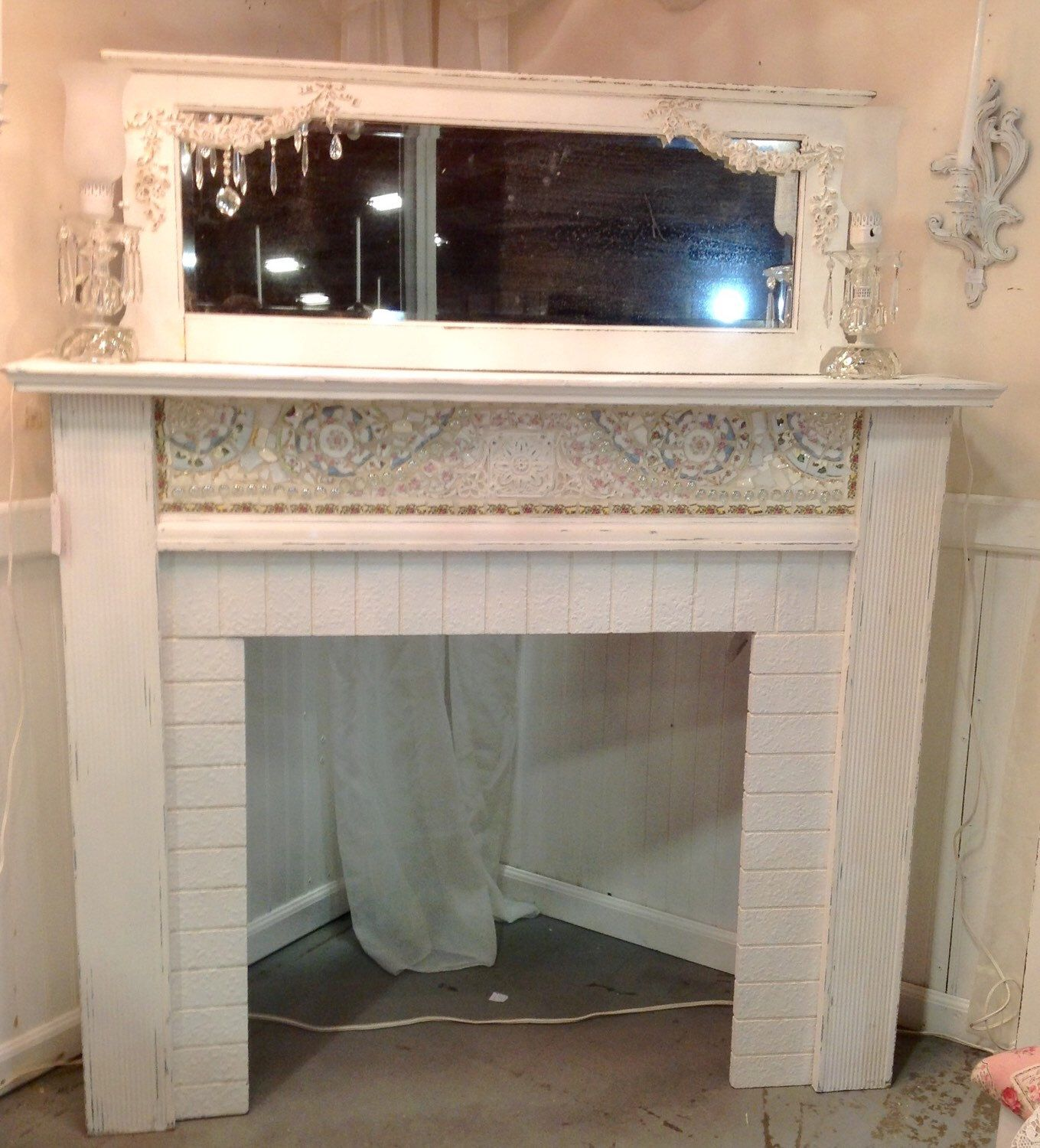 Shabby Chic Mosaic Fireplace Mantle With Mirror Painted Cottage White by PinkPaperRose on Etsy https://www.etsy.com/listing/214250832/shabby-chic-mosaic-fireplace-mantle-with