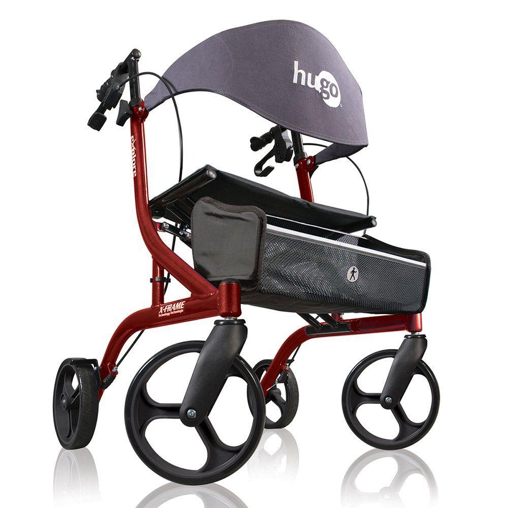 Hugo Explore Side-Fold Rollator Walker with Seat, Backrest and Folding Basket, Cranberry