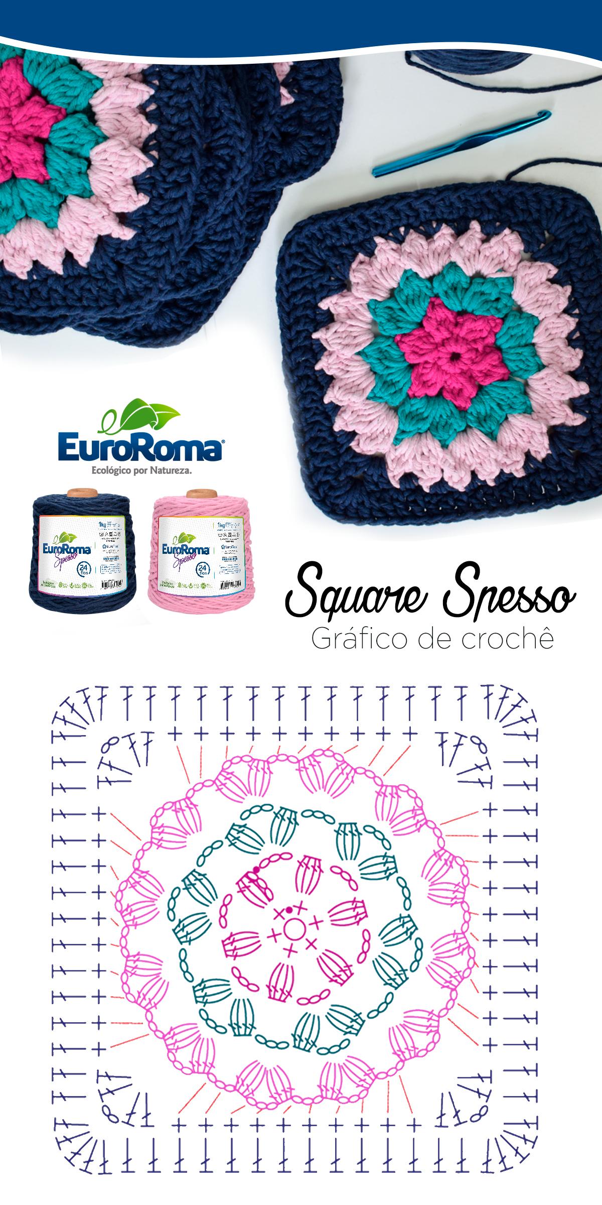 Square de Crochê utilizando o EuroRoma Spesso nas cores Azul Petróleo, Rosa Bebê, Pink e Verde Água Claro. #crochetmotif