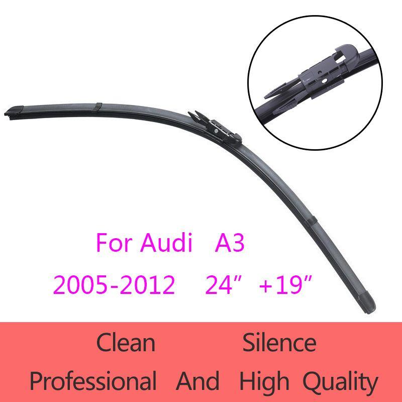 "High-Quality Windshield Wiper Blades for Audi A3  2005-2012 24""+19"" Car Accessories Soft Rubber Wiper Blades"