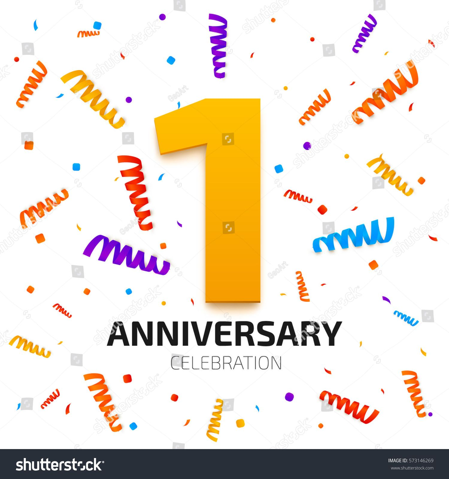 One Year Anniversary Banner 1 Jubilee Celebration Poster Gold Number With Colored Falling Confetti On White Background Vector Ilration