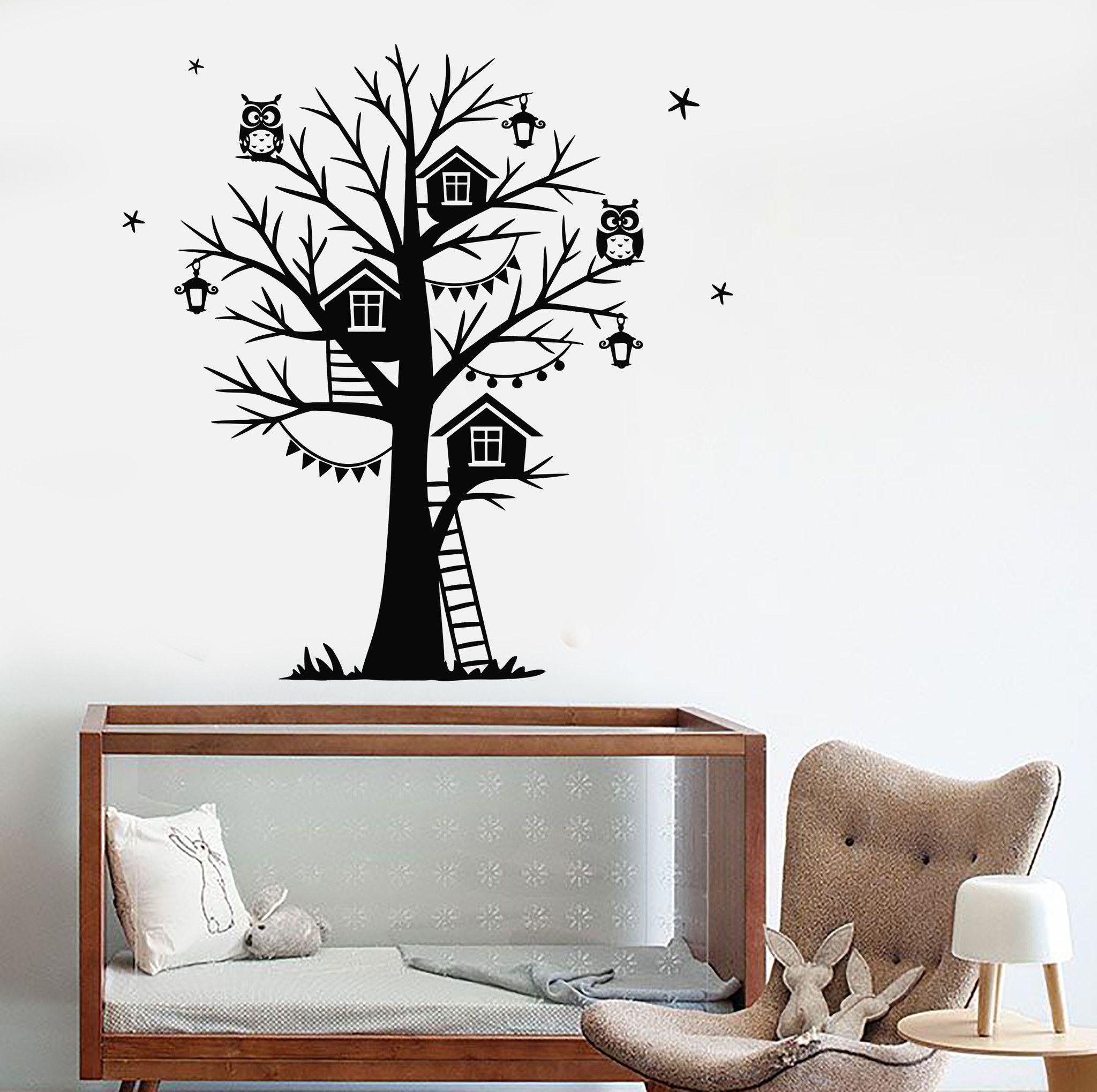 Vinyl Wall Decal Owls Lanterns Branches Tree House Night Stars Nursery Stickers (694ig)