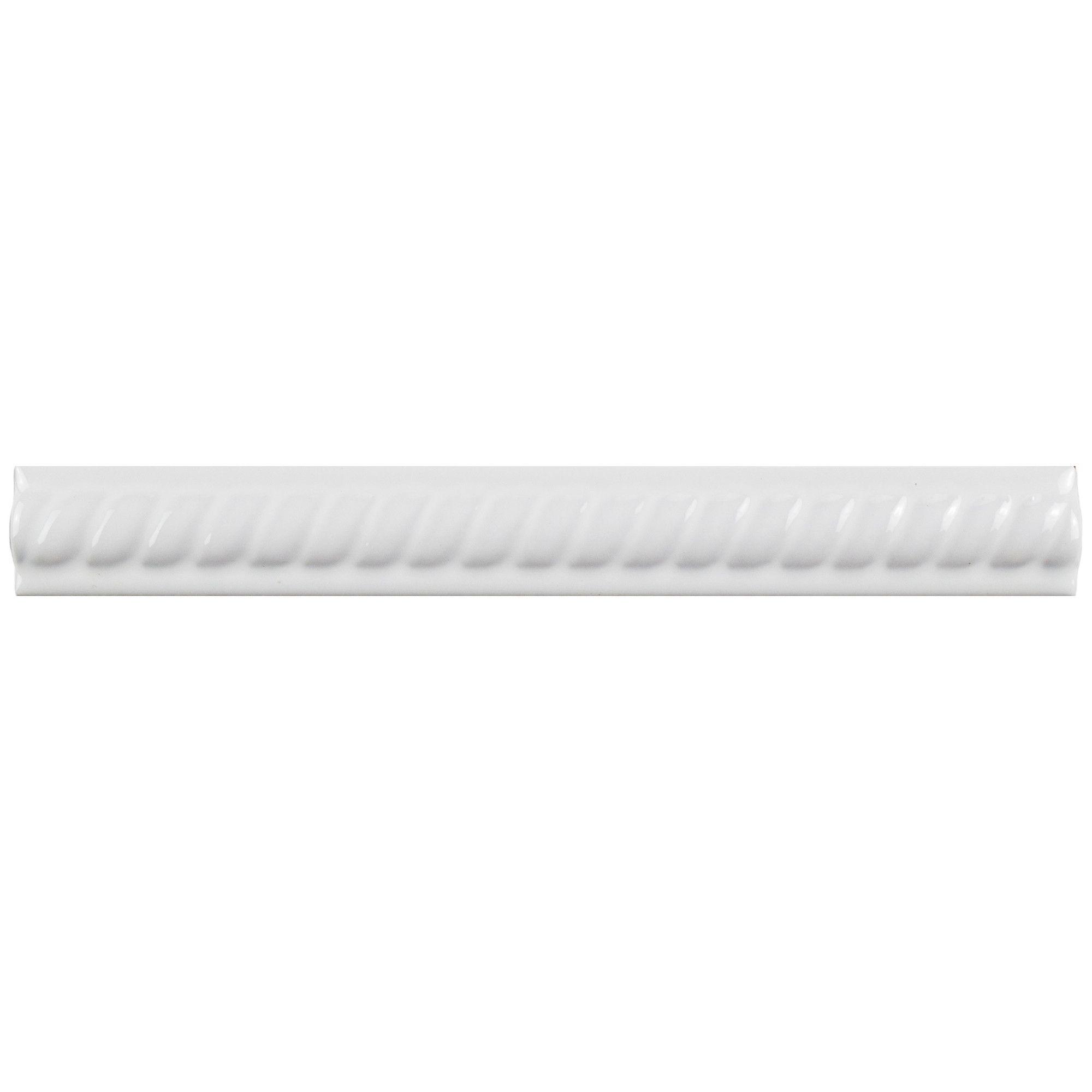 "8"" X 1"" Ceramic Moldura Pencil Liners Tile in Blanco"