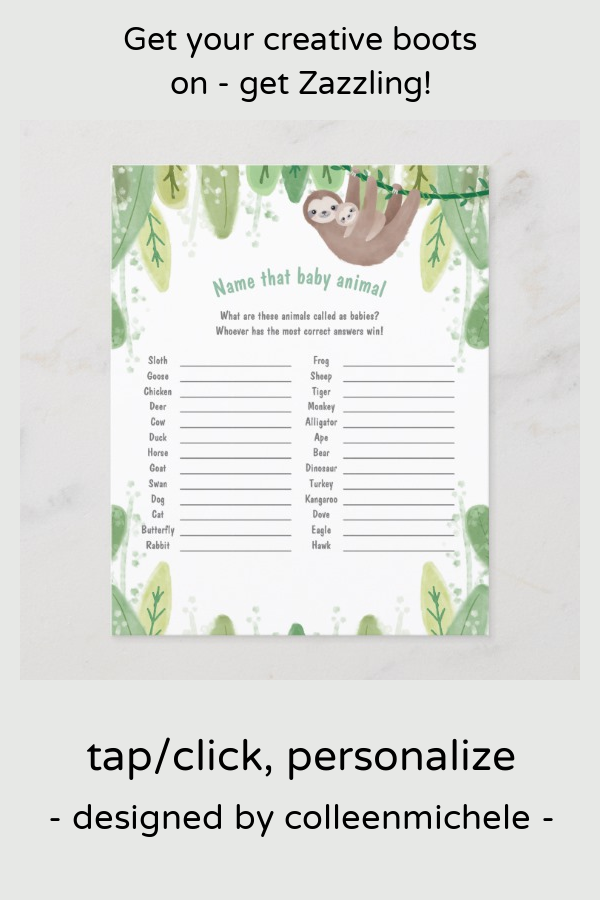 Cute mom and baby sloth name the baby animal game Zazzle
