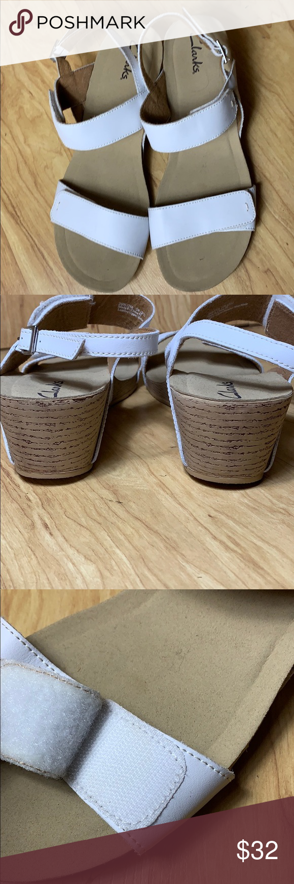 Clarks White Leather Sandals Size 12n Excellent Condition