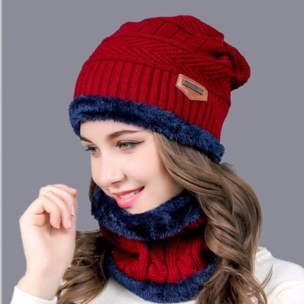 b6186325742 Knitted Hat And Scarves Set Beanies