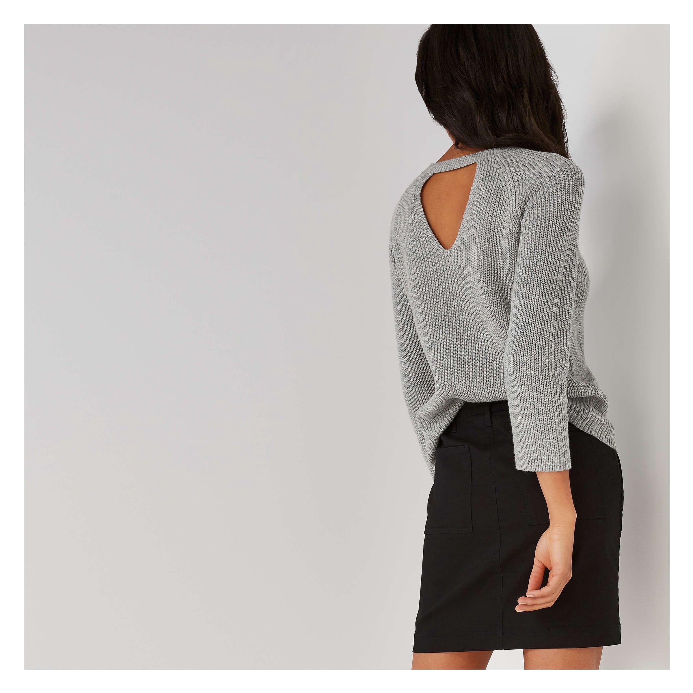 cd5701a1f Joe Fresh Key Hole Back Ribbed Sweater - Grey Mix XS Gray