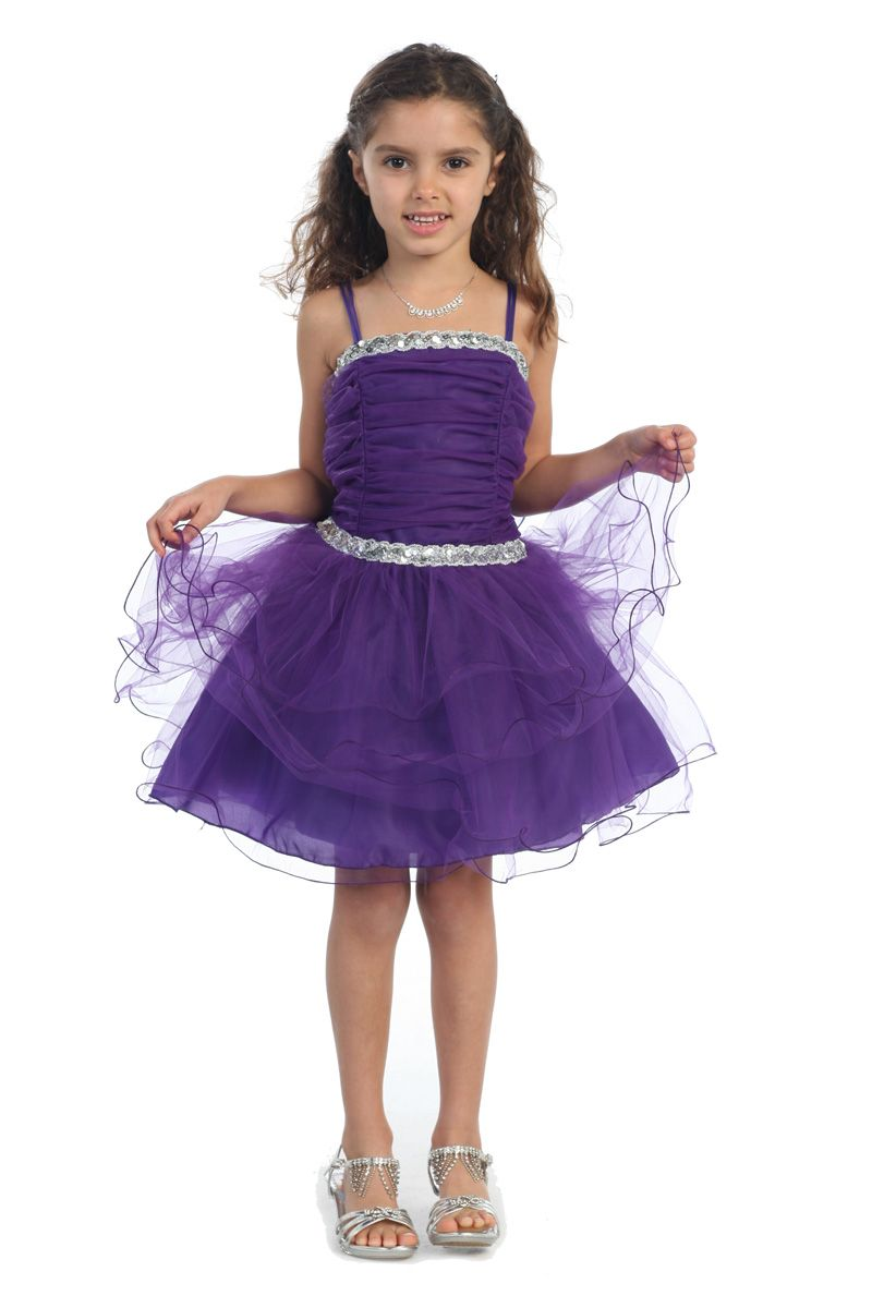 Purple Fancy Multi Tiered Tulle Skirt Short Flower girl Dress G3169 ...