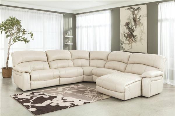 Damacio Cream Leather Sectional W Raf Chaise Sectional Sofa With Recliner Sectional Sofa With Chaise Ashley Furniture Living Room
