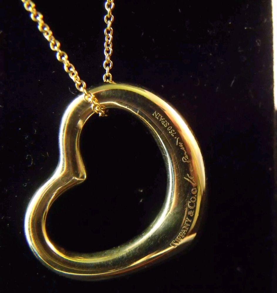 39f488f7d Tiffany & Co Elsa Peretti Medium Open Heart Pendant 18k Gold 18