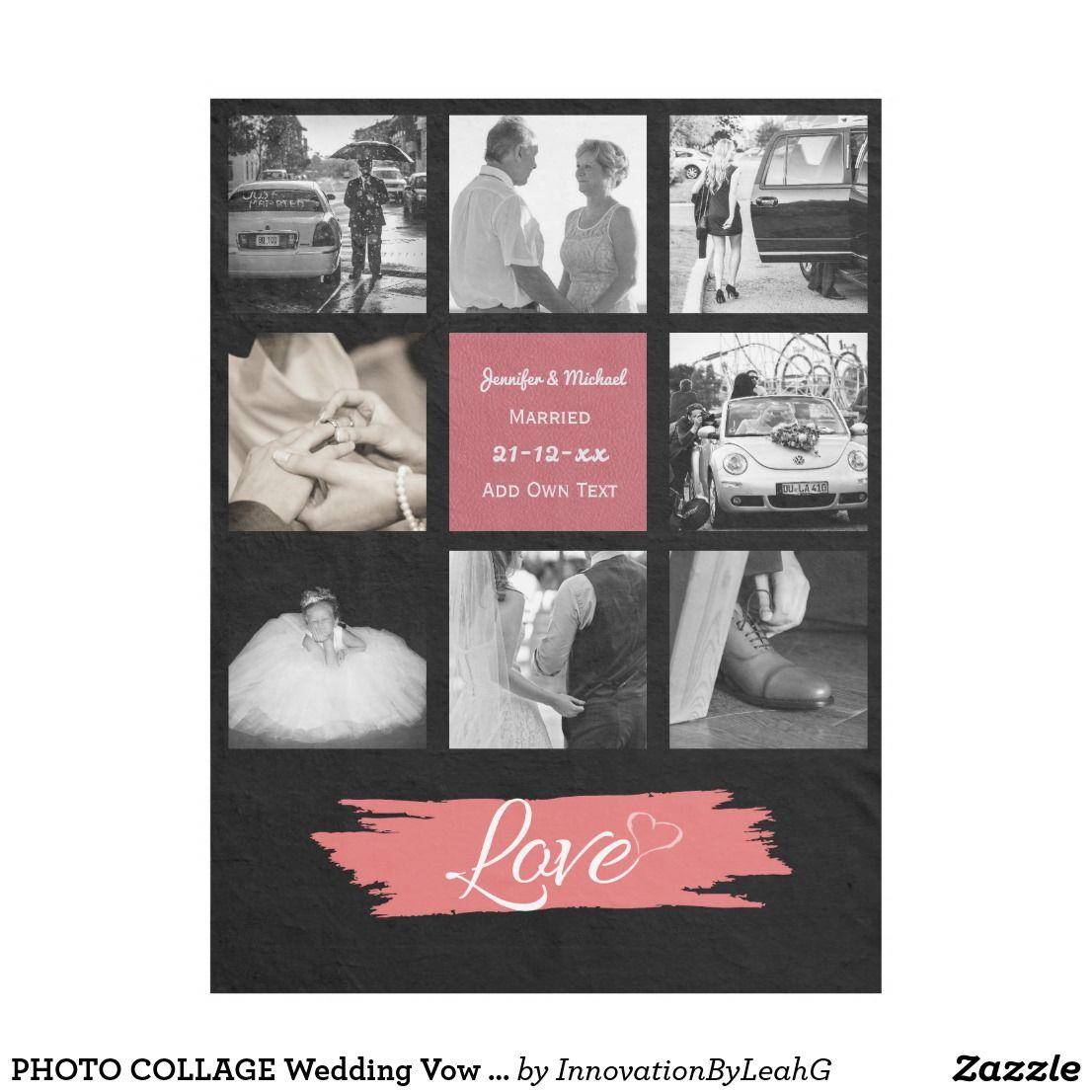 Photo Collage Wedding Vow Renewal Anniversary Cora Fleece Blanket