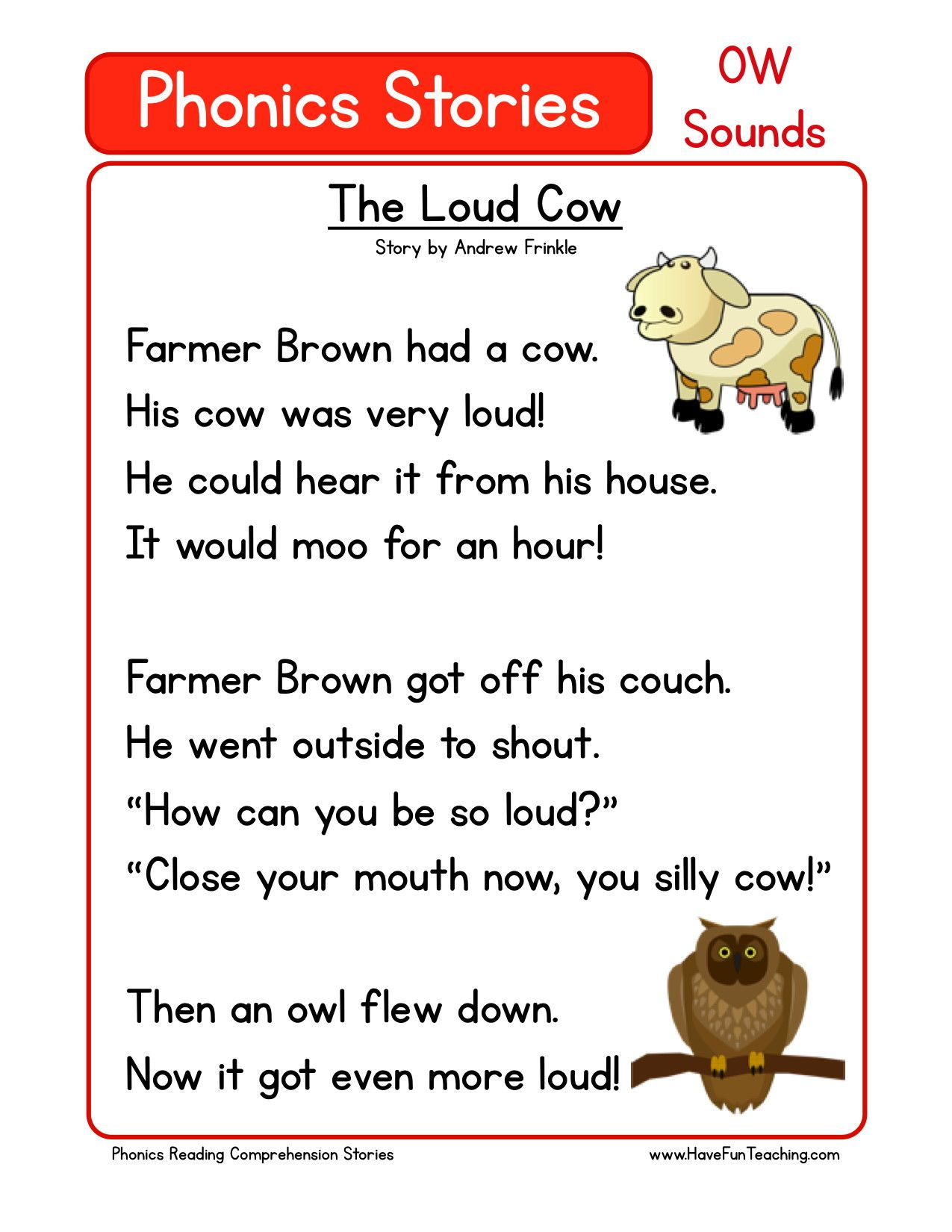 Reading Comprehension Worksheet The Loud Cow Phonics Reading Reading Comprehension Worksheets Reading Comprehension