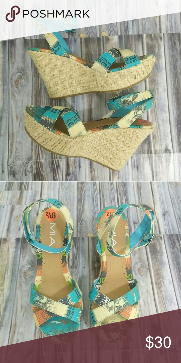 2289fe5db80 MIA Blue Printed Wedge Espadrilles Ankle Strap Cute sandals. Platform in  front is 1.5
