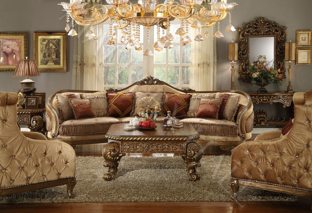 Hand Carved Tufted Upholstered Sectional Sofa Set Sectional And Two Chairs Ebay Victorian Living Room Victorian Living Room Furniture Country Living Room #set #of #two #chairs #for #living #room