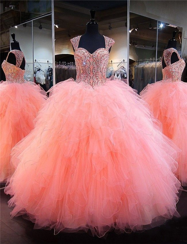 Ball Gown Sweetheart Corset Coral Tulle Ruffle Puffy Quinceanera ...