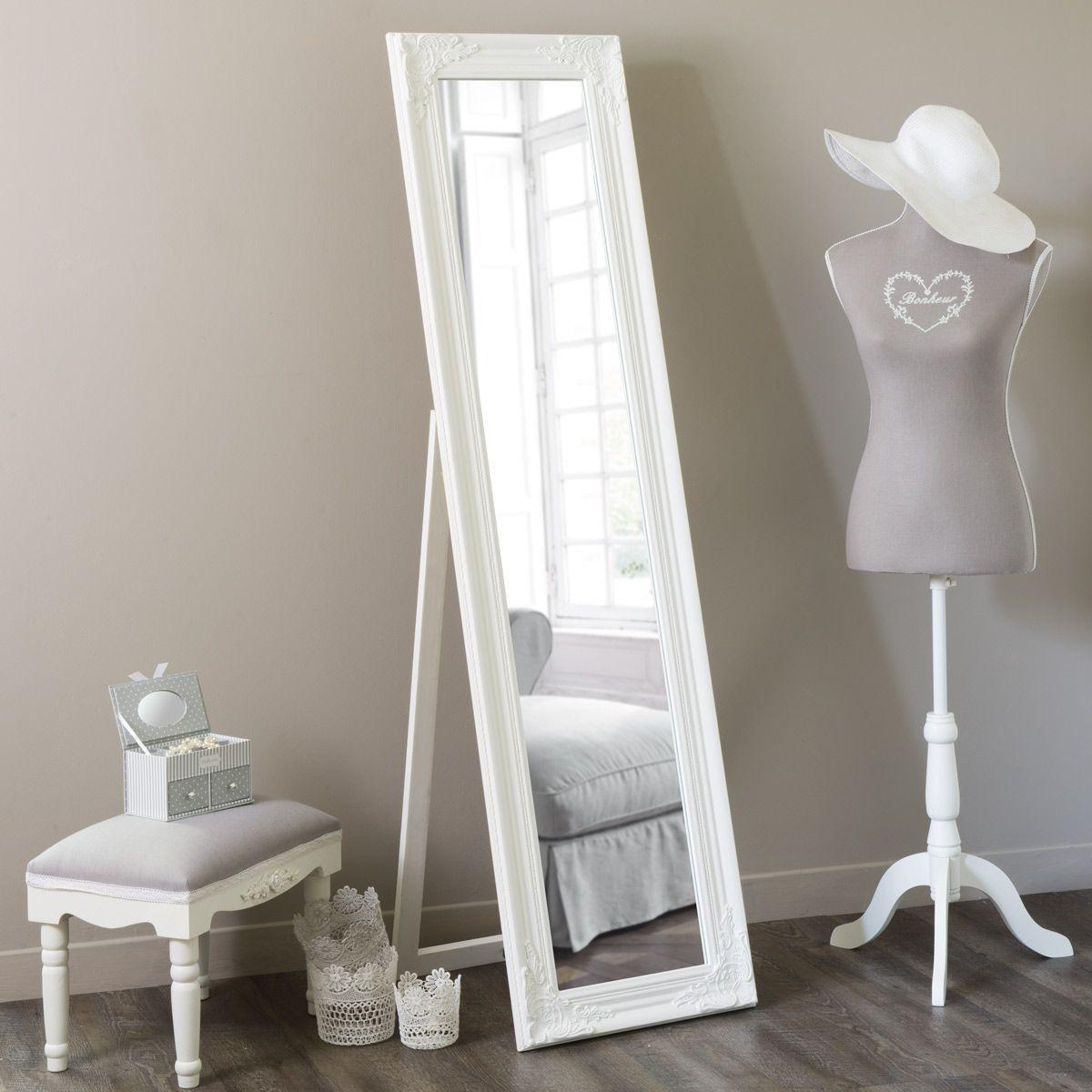 Miroir psyché blanc H 164 cm | Espejo de pie, Madera blanca y Espejo