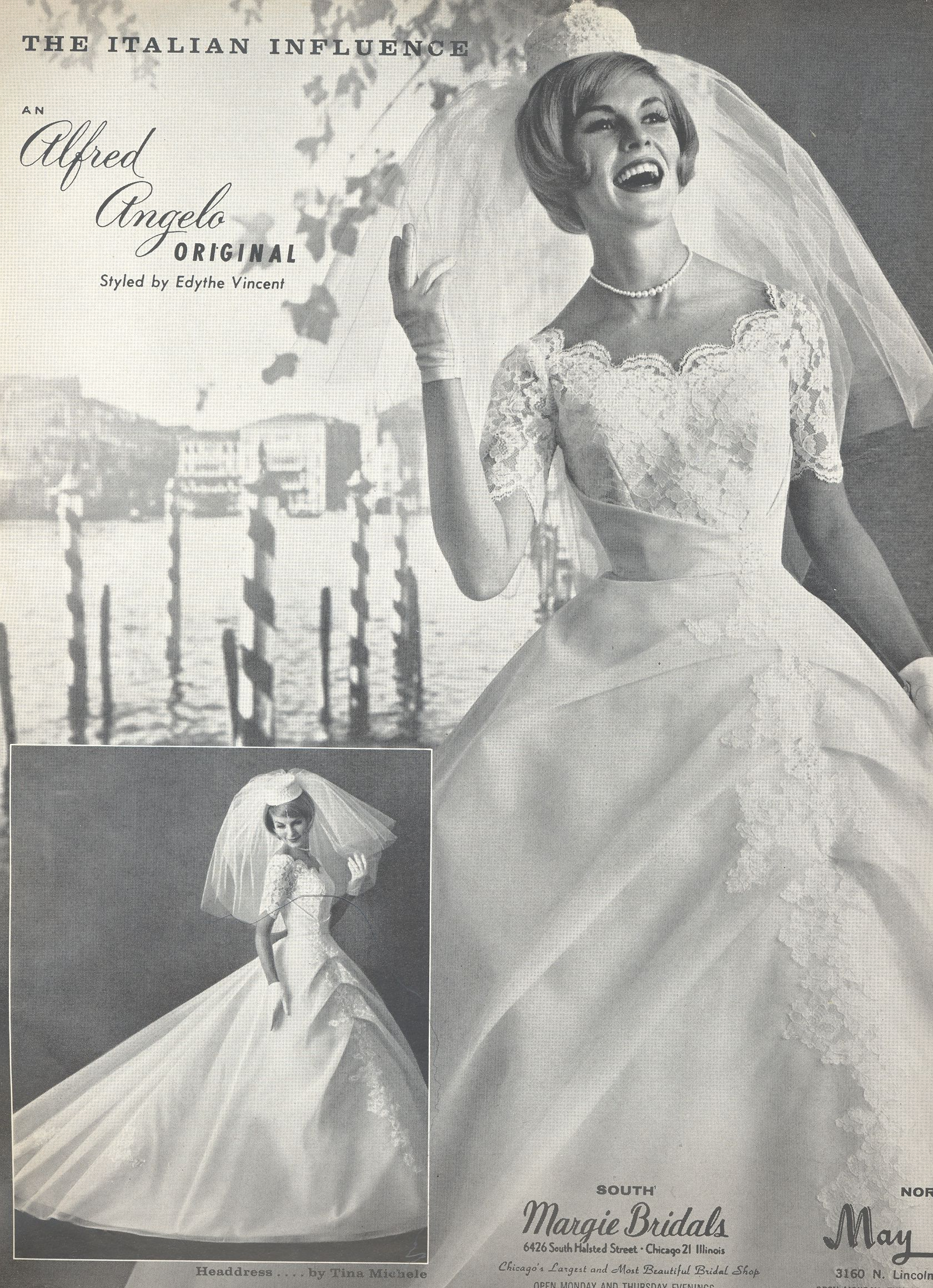 An Italian Influence by Alfred Angelo, Spring 1963, vintage designer ...