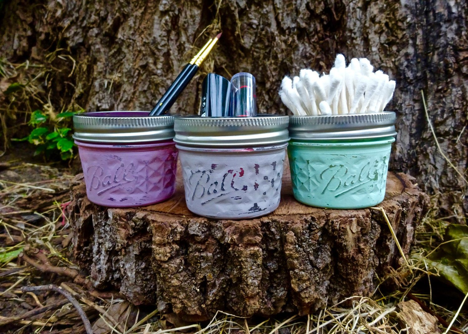 Set of 3 Small Painted Mason Jar Organizers. Bathroom Set. Bathroom Decor. Cosmetic Holder. Tissue Holder. Qtip Holder. Rustic Decor. by KDubWoodCreations on Etsy https://www.etsy.com/listing/291906693/set-of-3-small-painted-mason-jar