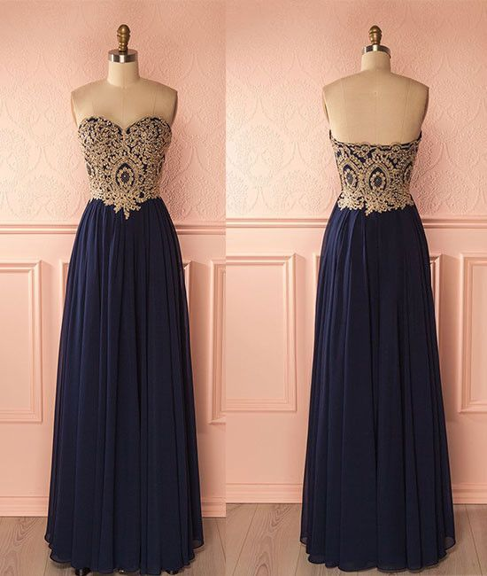 Navy Blue Chiffon Gold Lace Appliqued Prom Dress Strapless Formal Dress Long Cheap Bridesmaid Dress 2120 Prom Dresses Blue Custom Made Prom Dress Dark Blue Prom Dresses