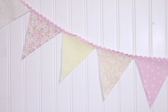 Pink and Yellow Pastel Fabric Pennant by sweetdelights1 on Etsy, $17.50