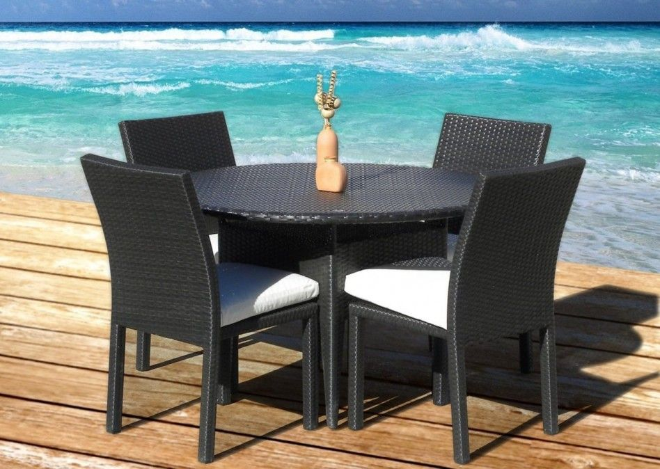 Decoration, Awesome Outdoor With Rattan Patio Wicker Furniture New Resin  Piece Round Dining Table Chair