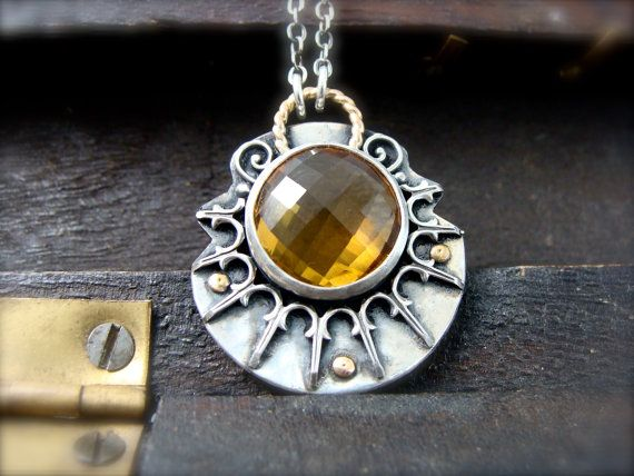 sun keeper ... citrine pendant by sirenjewels on Etsy