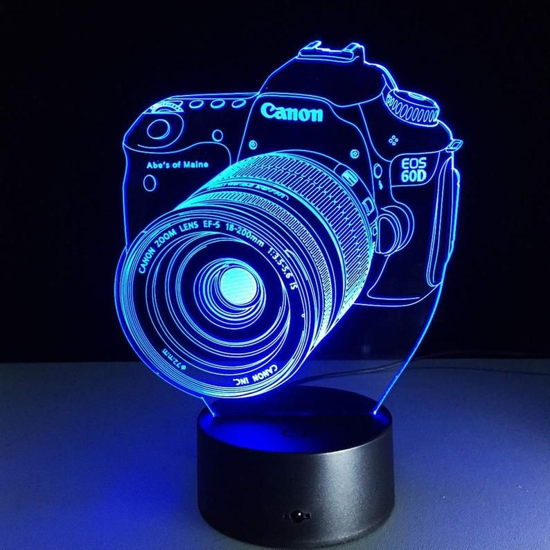 Camera Canon 3d Illusion Acrylic Led Lamp This Cnc Files Dxf Etsy In 2020 Camera Lamp Color Changing Lamp 3d Led Light