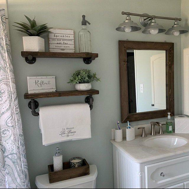SET OF 2 Bathroom Floating Shelves Wood Floating Shelf Set | Etsy