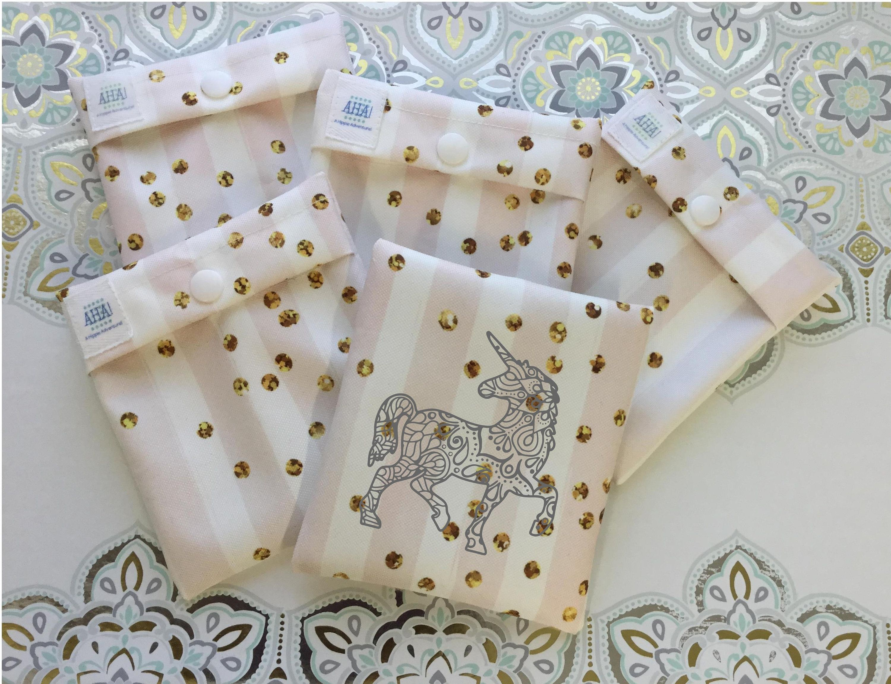 Leak Resistant Pouch for Cloth Menstrual Pad, Snap Close Pad Wrapper, Menstrual Cup Pouch, Cloth Pantyliner WetBag, Tampon Holder