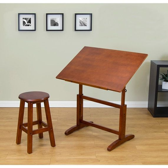 Vintage Style Drafting Table Wood Stool Wooden Office Drawing Desk Arts  Crafts Painting Supplies Tools Professional Adults Kids By  TickleMyToesBoutique On ...