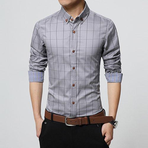 e6d52fcc317 New Autumn Fashion Brand Men Clothes Slim Fit Men Long Sleeve Shirt Men  Plaid Cotton Casual