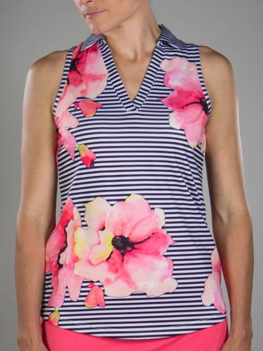 fcacb6c7b071a Cabernet (Stripe Floral) JoFit Ladies   Plus Size Tech Cut Away Sleeveless  Golf Tennis Polo Shirt  lorisgolfshoppe