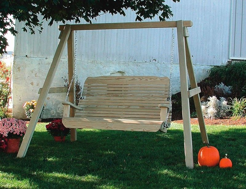 Set your swing anywhere with this Amish made A-Frame Porch Swing Frame that  is handcrafted from solid pine wood. This solid wood swing stand will bring  a ... - Outdoor Swing Frames Pid_2593-amish-outdoor-wooden-porch-swing