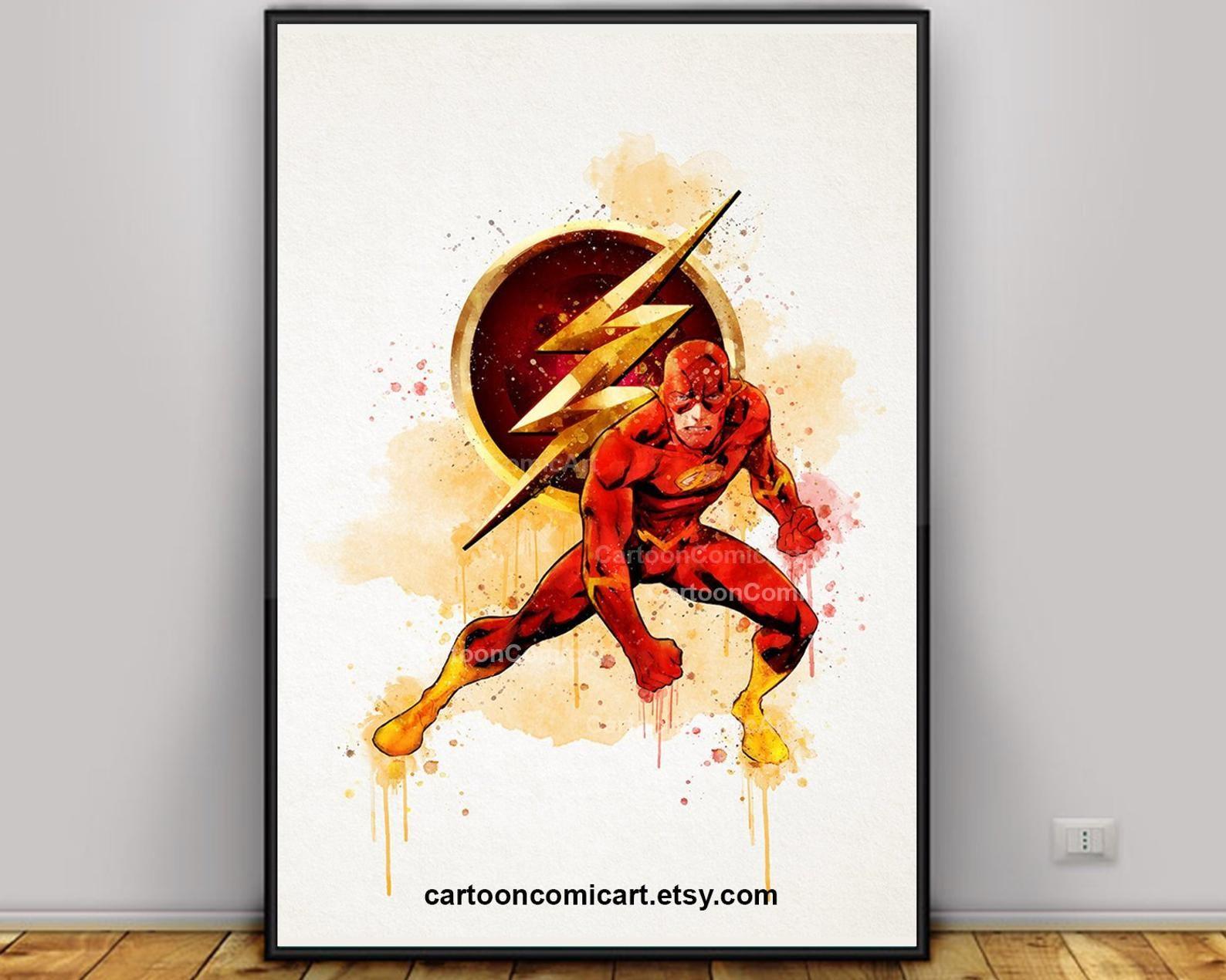 Flash Poster Flash Art Watercolor Flash Flash Wall Art Etsy