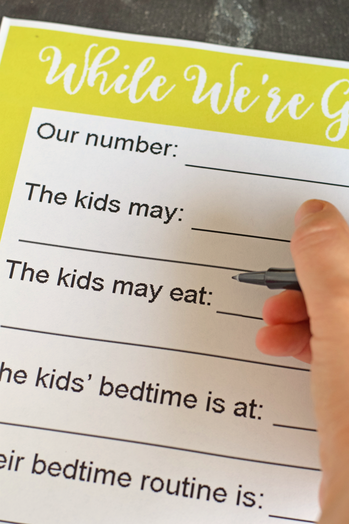 free printable babysitting notes to leave instructions for the
