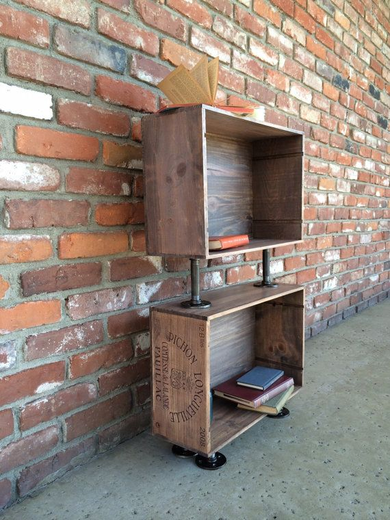 Wine crate side table nightstand book shelf stained wood rustic industrial upcycled pipe Wooden crates furniture