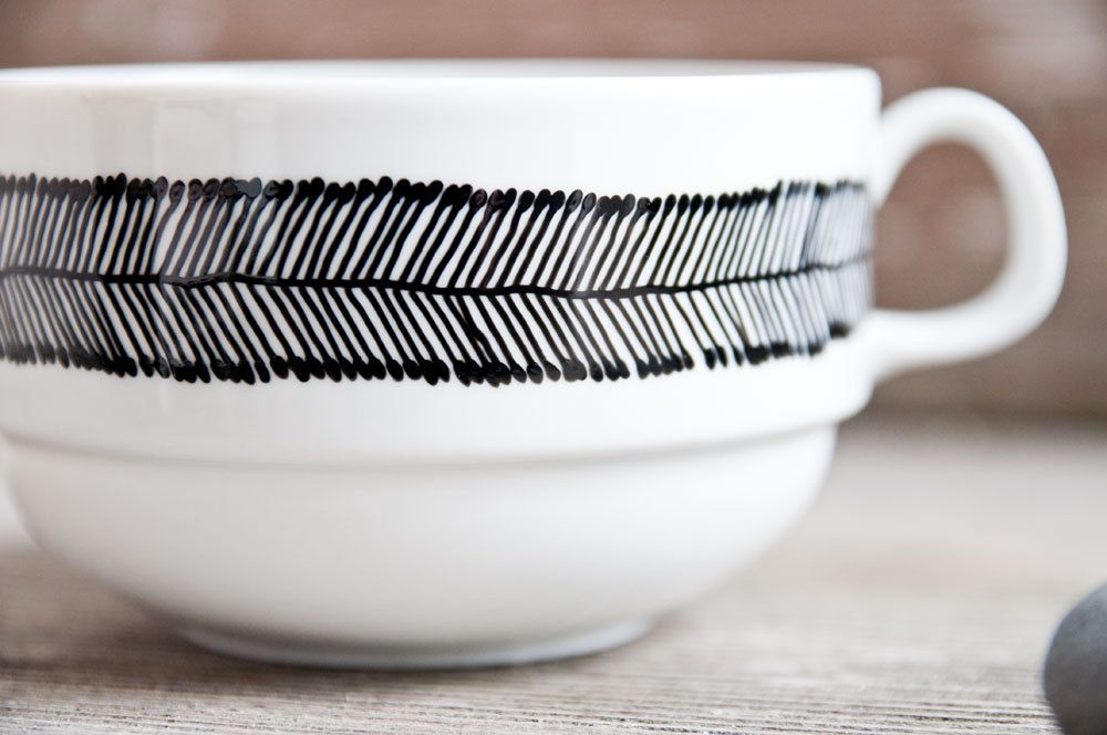 """Hand-painted vintage soup bowl """"somewhat angular"""", black and white. €14.00, via Etsy."""