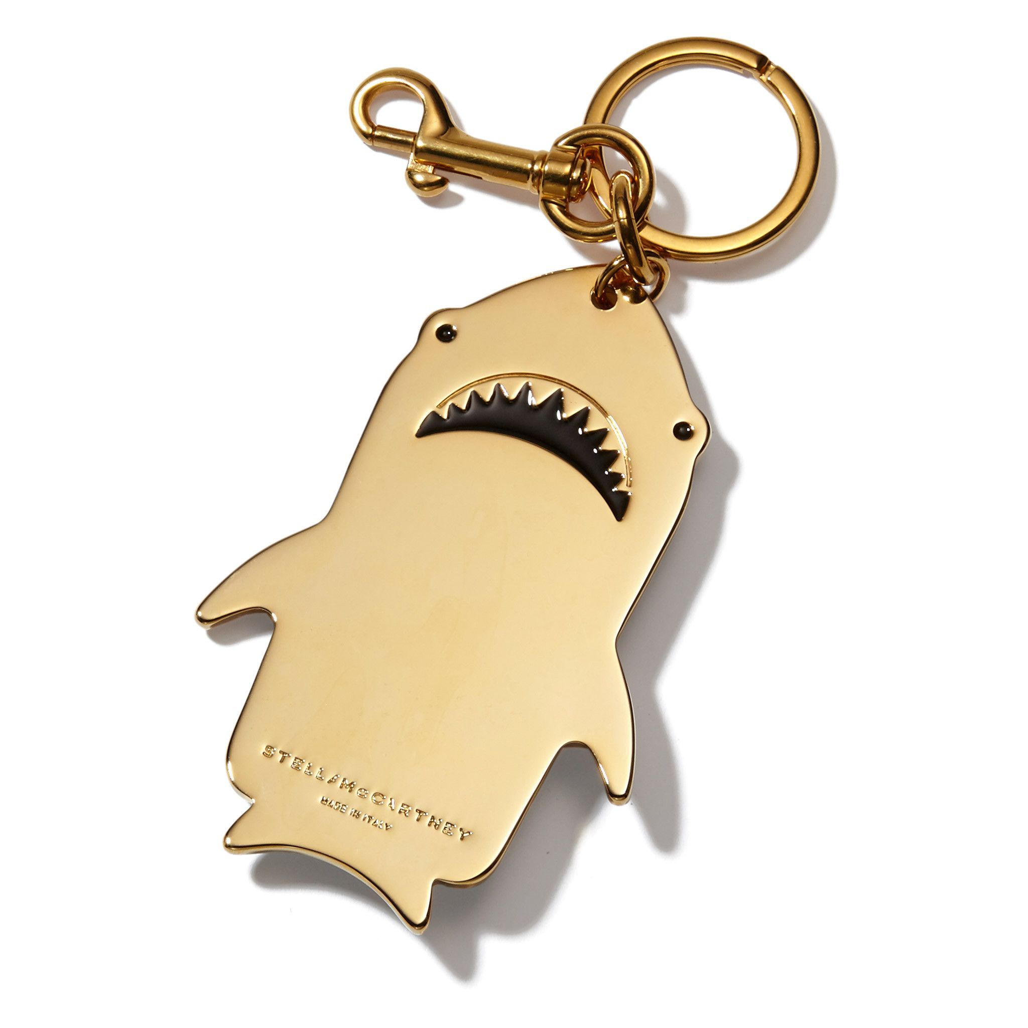 Stella Mccartney Shark Keychain In Gold Shark Shark Accessories