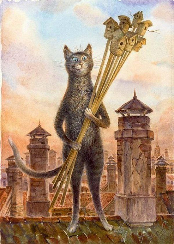 Художник румянцев коты купить