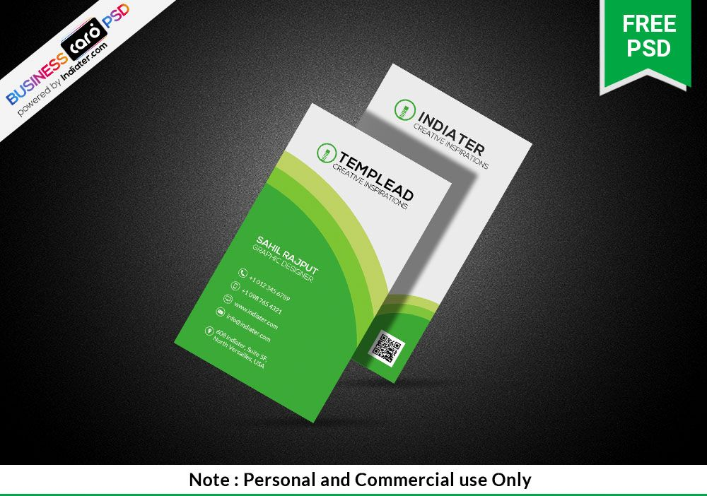Green Creative Vertical Business Card Design Template Vertical Business Cards Business Card Design Business Card Psd