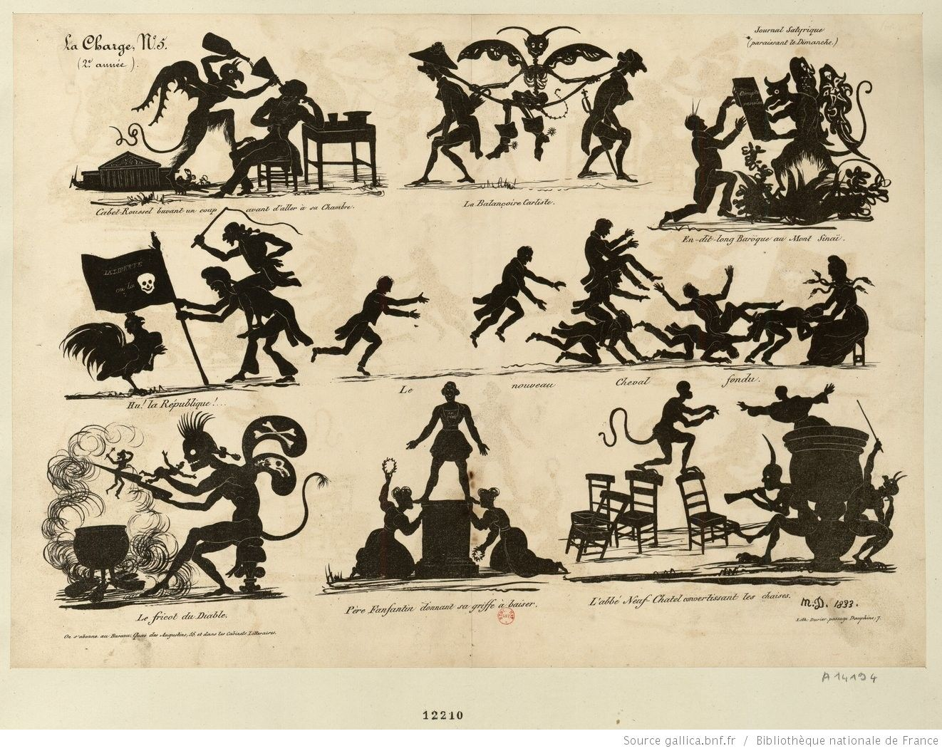 Diableries. Panneau de silhouettes satiriques : trois rangs superposés, avec les titres des images au-dessous de chacune d'elles. Delaporte, Michel (1806-1872).
