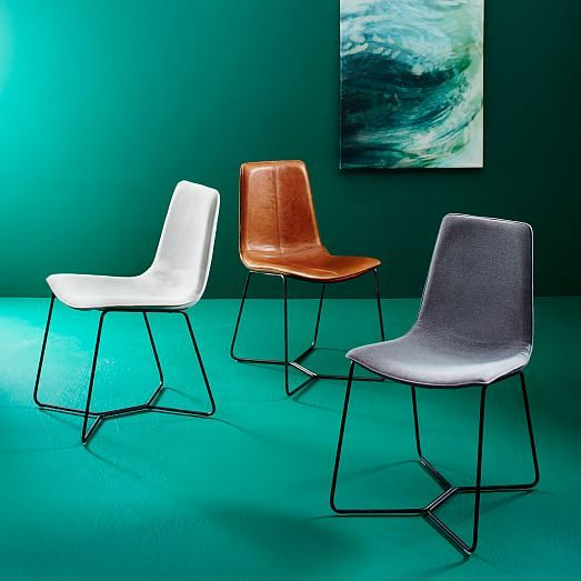 Leather Slope Dining Chair Sets West Elm