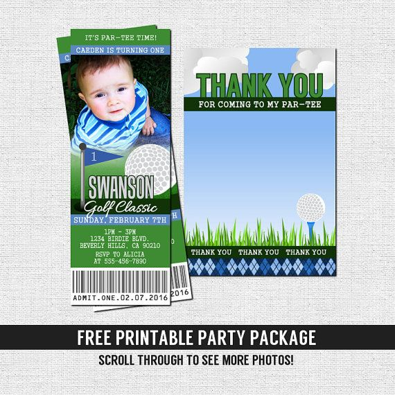Golf Ticket Invitations Birthday Or Retirement Party Printable